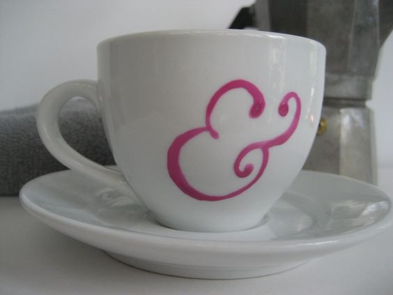 Ampersand Cup and Saucer Pink. $7.00, via Etsy.