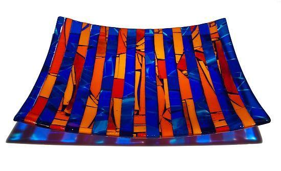 Twighlight Blue: Varda Avnisan: Art Glass Tray - love brightness