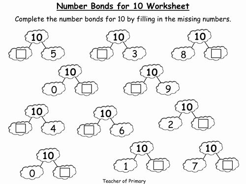 Number Bonds To 10 Worksheet Number Bonds Worksheets, Number Bonds, Free  Printable Math Worksheets