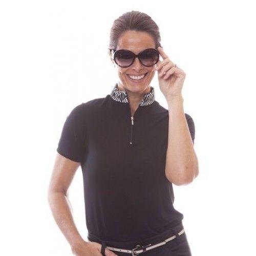 Birdee Sport of Australia Women's Milan Capsleeve Zip Mock Golf Polo- Black  #birdeesport #golfpolos #shortsleevegolfpolos #patterns #ladiesgolfapparel #ladiesgolfshirts #golftops #shortsleevepolos