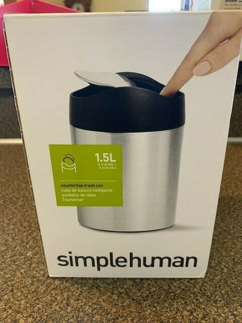Simplehuman 1 5l Stainless Steel Countertop Trash Can New In Box