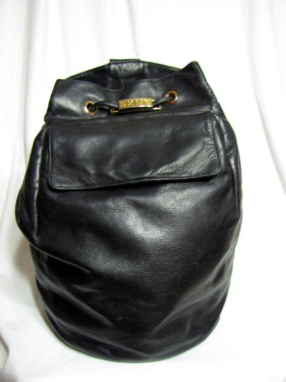 Donna Karan Black Leather Drawstring Bag | Black leather, Donna d ...