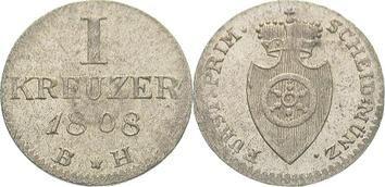 Frankfurt-Fürstprimatische Staaten Carl Theodor von Dalberg 1806-1815. Kreuzer 1808 Winz. Prägeschwäche, vorzüglich +