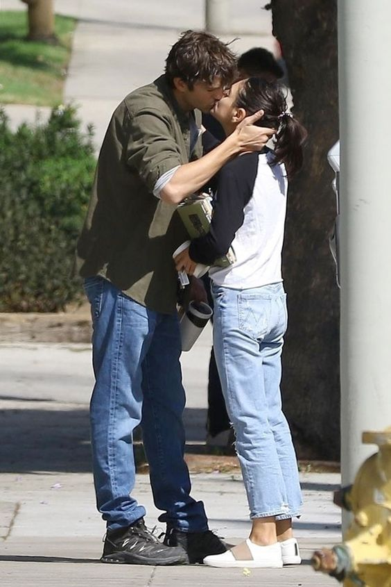 Turning Up the Heat! Ashton Kutcher and Mila Kunis Share Steamy Kiss on the Lips in L.A.