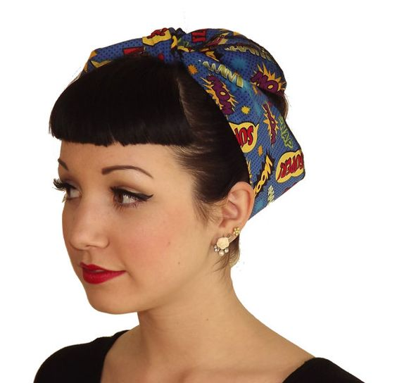 Retro Pin Up Rockabilly tissu Headwrap par ShopAtomicBoutique