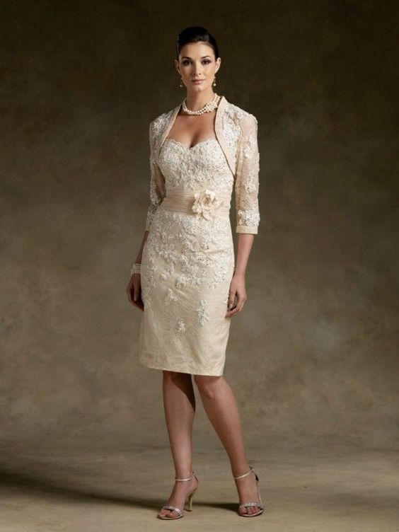 Details about Stock Noble Champagne Short Lace Wedding Mother of ...