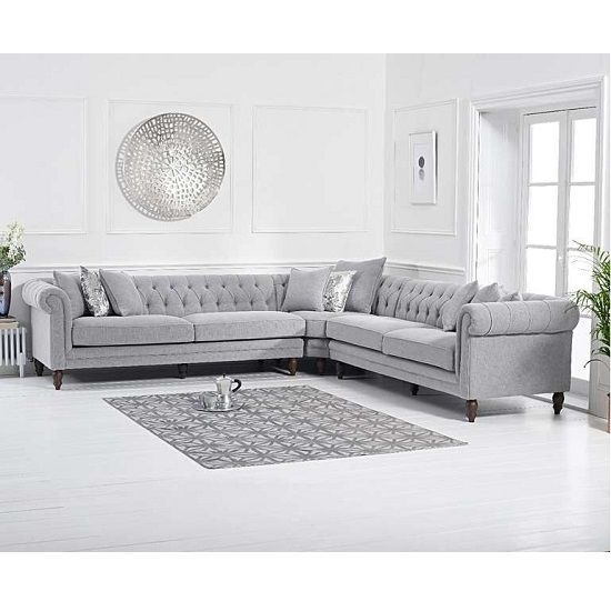 Bodgers Chesterfield Corner Sofa In Linen Grey With Wood Feet Modular Corner Sofa Corner Sofa Chesterfield Corner Sofa