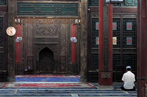 Inside the Great Mosque of Xi'an in Xi'an (China).