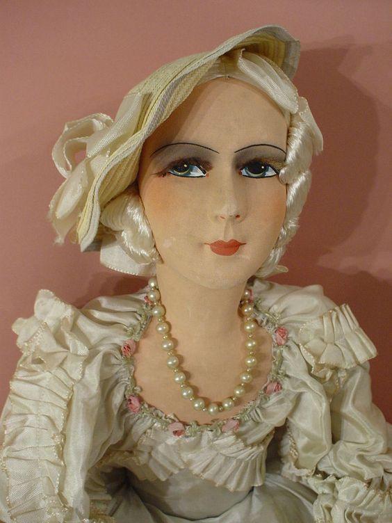 Poupee de salon ancienne/ vintage bed doll/ boudoir/1925/30/ mode/ art deco