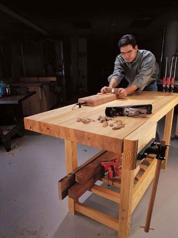 Do It Yourself Wood Shop Bench: Woodworking Benches, Woodworking Ideas, Beginner Woodworking, Woodshop Table, Woodworking Workbench, Diy Workbench, Woodworking Plans