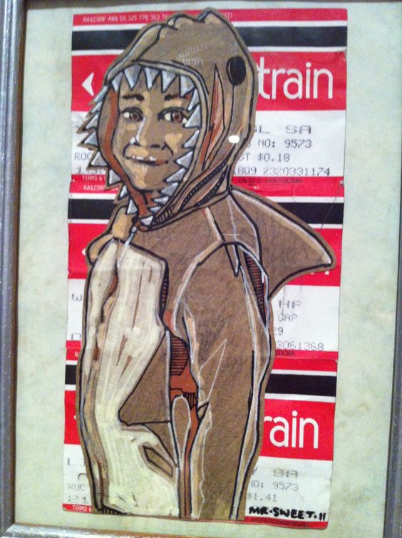 Little paste-up on train tickets