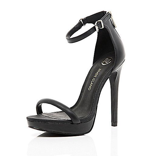 Black platform barely there sandals - heels - shoes / boots