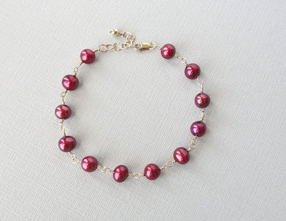 Pink Pearl Bracelet in Gold Fill, Raspberry Pink, Handcrafted Pearl Jewelry by BlueRoomGems, $44.00