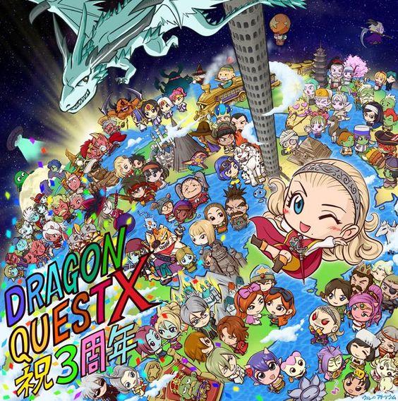 DQXの3周年お祝いイラスト、キャラクターをいっぱい入れて描きました!  ニコニコ静画へのリンク⇒ http://seiga.nicovideo.jp/seiga/im5110386  #ドラクエ10 #DQ10 #DQX