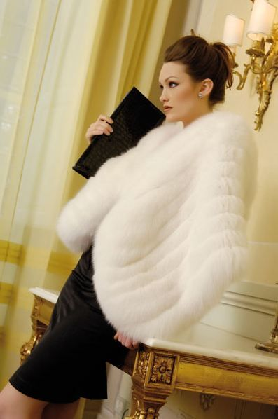 White fox fur wrap
