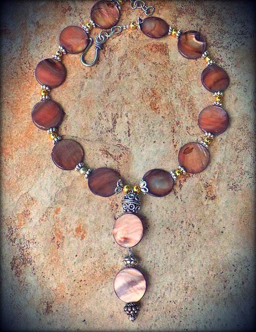 MOTHER OF PEARL CHOCOLATE MOCHA BROWN COIN PEARLS BALI BEAD GEMS SILVER NECKLACE