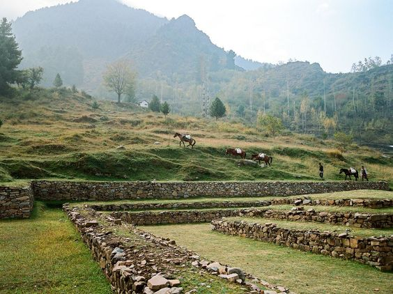 The Harwan Buddhist ruins, high in the hills on the outskirts of Srinagar, date from as early as A.D. 300.