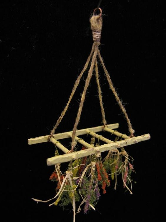 OOAK 1:12 Scale Dollhouse Miniature Primitive Hanging Herb Drying Rack