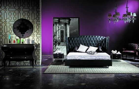 deep purple feature wall black and white everything else 19561 | a513ec0072cf1442fb5cfdd2124068e8