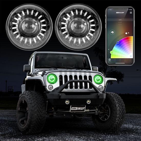 Xkglow Chrome 7 Rgb Led Jeep Wrangler Tj Jk Jl Jt Headlights Xkchrome Jeep Lights Jeep Wrangler Accessories Jeep Wrangler