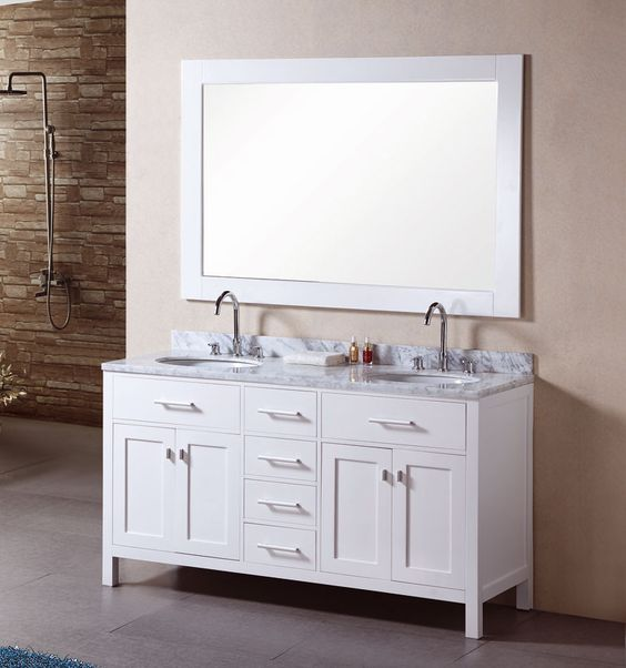 "High Quality Bathroom Vanity: Design Element DEC076A London 61"" Double Sink Bathroom"