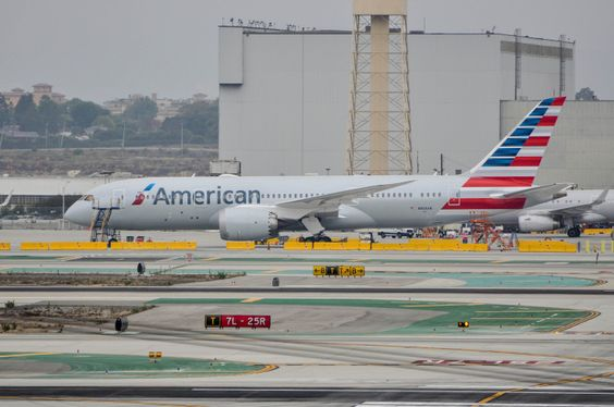 N808AN, AA's newest Dreamliner, at LAX on August 22, 2015 for training. AA will start 787 service an some trans-Pacific flights starting in October!