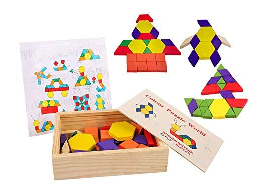 9 99 Amazon Com Lewo 60 Pieces Wooden Pattern Blocks Montessori