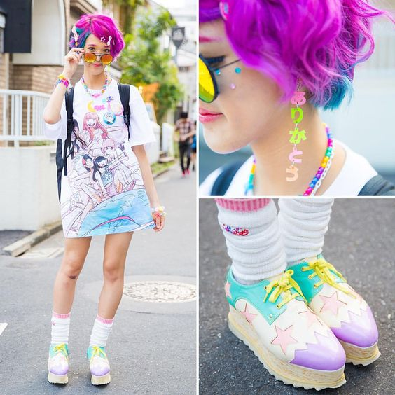 Harajuku Japan в Instagram: «@Rikarin_6doki on the street in Harajuku with pink-blue hair, a Dempagumi.inc t-shirt dress, colorful accessories by the Japanese brands 6%DOKIDOKI and Cosmic Magicals, and Yosuke USA platforms.»