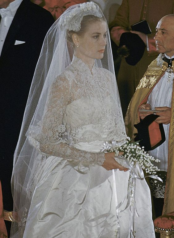 Princess Grace -- good view of her drop-style veil and bouquet