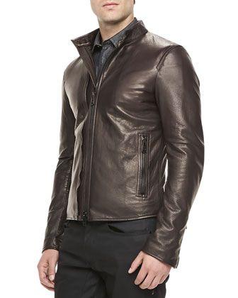 Holbrook Leather Moto Jacket, Amarone  by Belstaff. #belstaff #luxury #fashion #men #style #jackets #coats