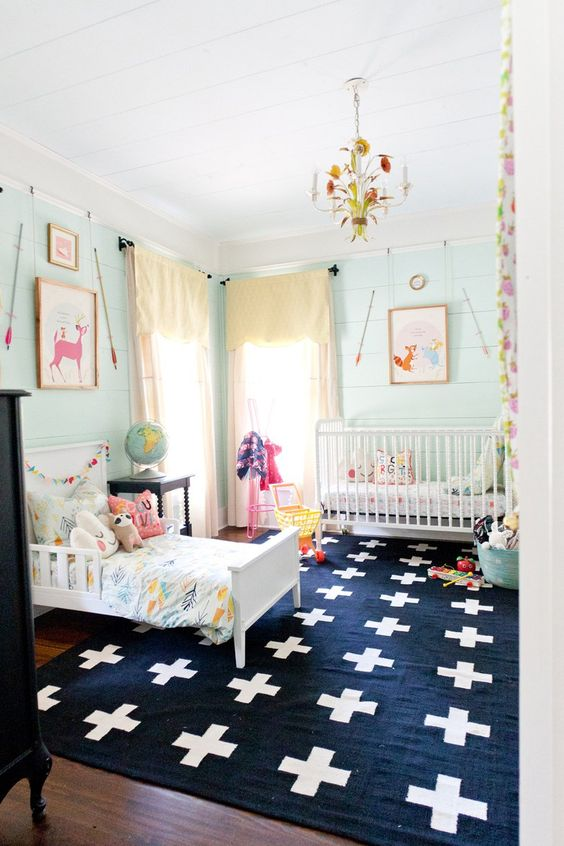 Vivi and Brigette's Home Away from Home  Nursery Tour - shared nursery room with pale green walls, printed artwork and a graphic rug: Shared Kids Room, Girl Room, Shared Room, Wall Color, Girls Room, Kidsroom, Kid Room