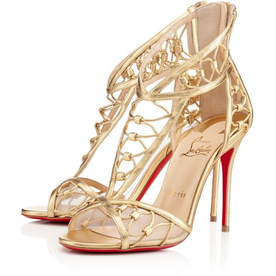 Christian Louboutin Martha (£990) ❤ liked on Polyvore featuring shoes, sandals, heels, christian louboutin, louboutin, gold, sexy heels shoes, christian louboutin stilettos, heeled sandals y heels stilettos
