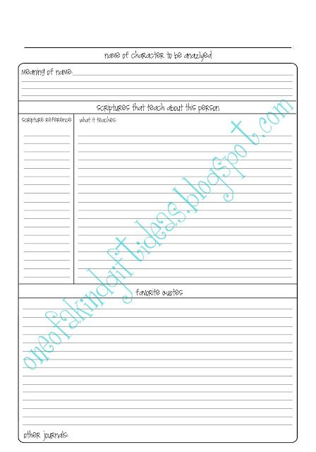 One of a Kind Scripture Journal Character Analysis Templates - character analysis