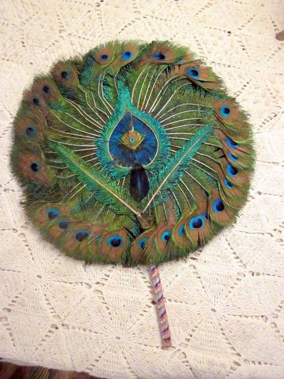 Old Retro Peacock Feather Fan: