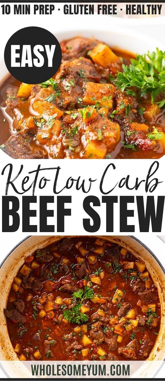 Easy Low Carb Keto Beef Stew Recipe | Wholesome Yum
