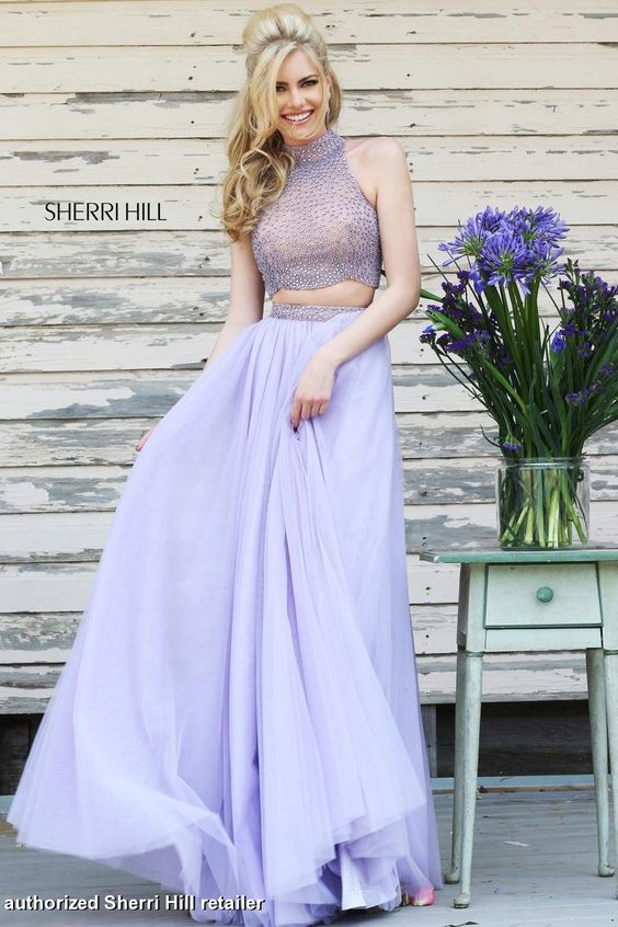 Sherri Hill Prom Dress 11220 - Two piece gown with high neck and encrusted rhinestone top, available in multiple pastel colors.  QueensChoice.com