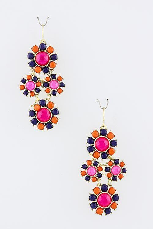 Fuchsia Pink, Orange, & Navy Jewel Sunburst Dangling Statement Earrings