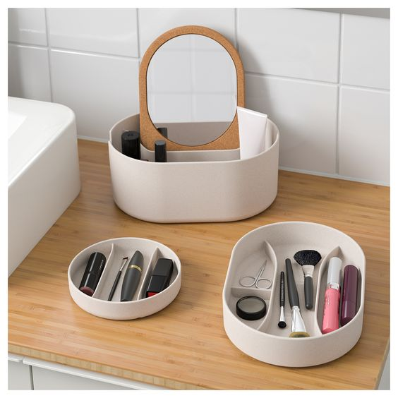 SAXBORGA storage box with mirror lid - IKEA