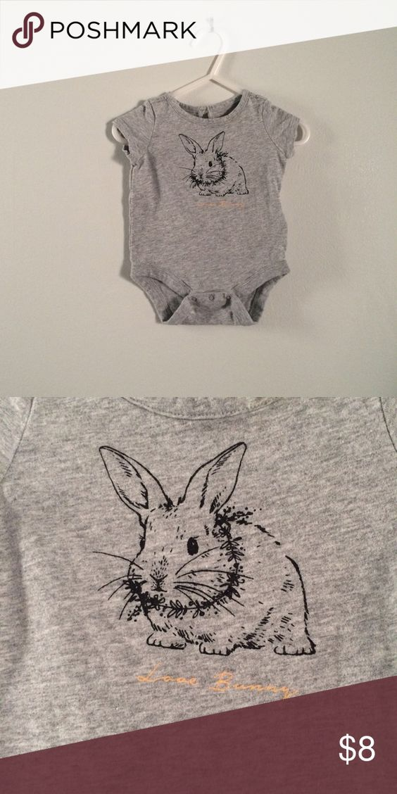 Baby GAP gray Love Bunny bodysuit Barely worn. Love  bunny. GAP One Pieces Bodysuits