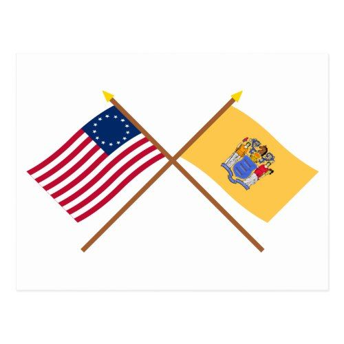 Crossed Us 13 Star And New Jersey State Flags Postcard Zazzle Com State Flags Flag Postcard