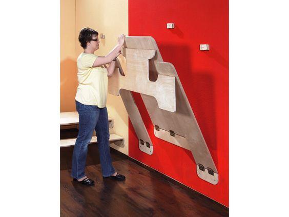 Klaptafel met banken, wandmontage, tafel en banken HPL, hoogte A1 | KG & Rolf; prachtige oplossing voor als je een ruimte snel vrij van tafels wilt hebben.