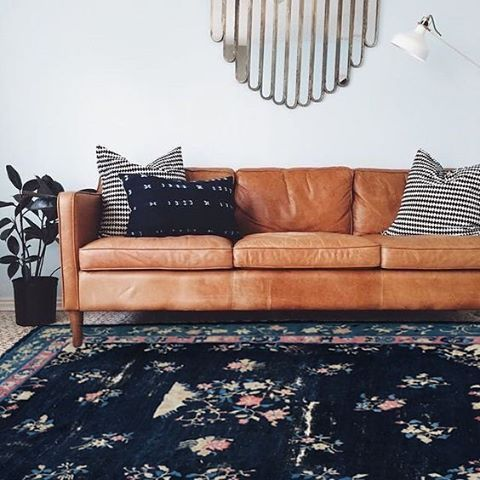 West Elm Brown Leather Couch Boho Meets Mid Century Modern