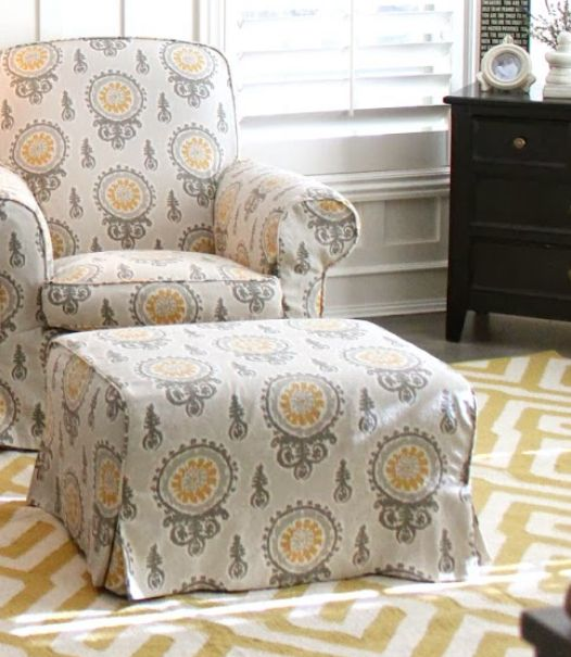 Waterfall Style Ottoman Slipcover Chair And Ottoman Bedroom Chair Yellow Gray Bedroom