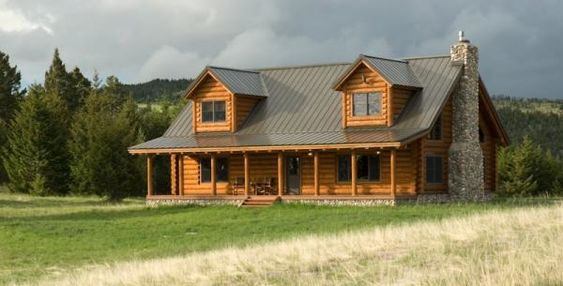 Traditional style log cabin in montana log cabins we for Cabin builders montana