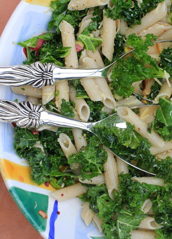 Lemony Kale, Pasta, and Pistachio Salad
