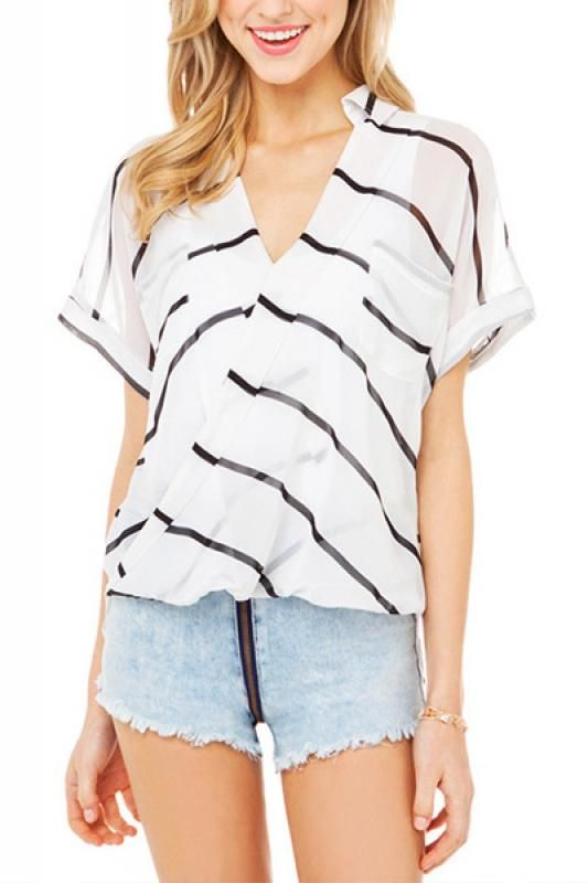 White Striped V-neck Short Sleeve Chiffon Blouse