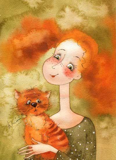 Wonderful watercolor cat art #VictoriaKirdiy #cats #CatArt
