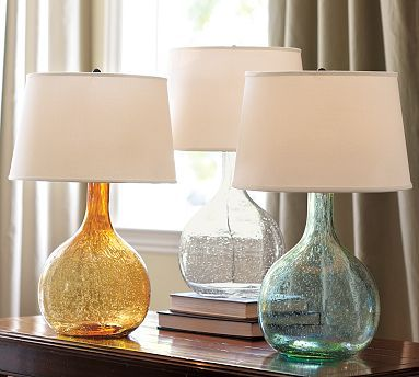 Love these glass lamps in Pottery Barn. They are a great way to add a pop of color to a room. I'm thinking I need a pair for my den, but I can't decide between the amber and the jade...