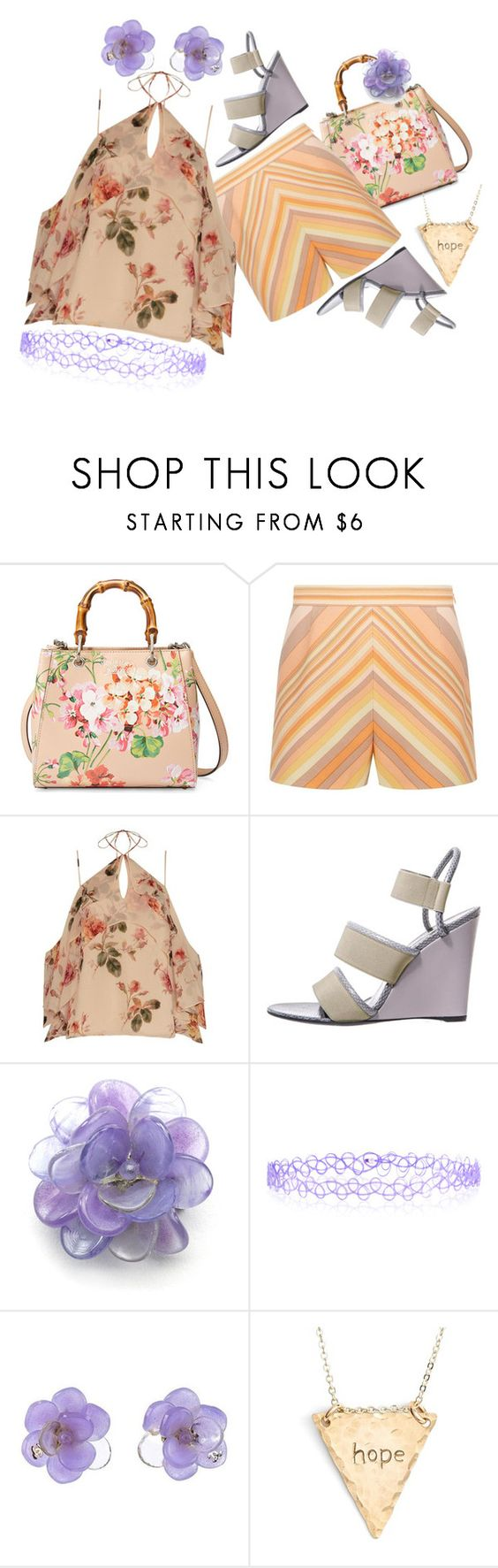 """""""Peach/Lavender"""" by kloeyblue ❤ liked on Polyvore featuring Gucci, Valentino, Exclusive for Intermix, Balenciaga, Chanel, Monsoon and Nashelle"""