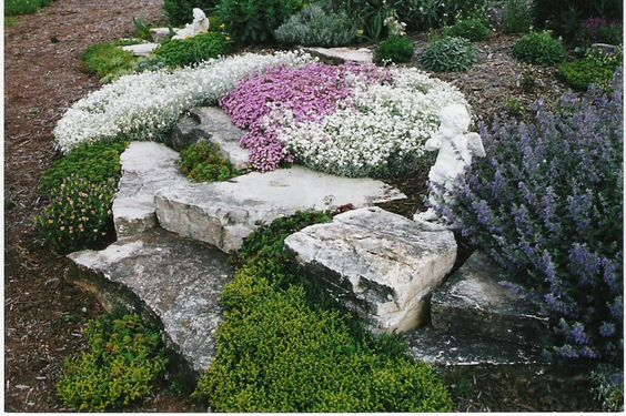 natural desert landscaping | Rock gardens are created informally with plants and stone being ...
